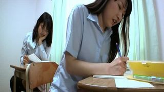 Asian school girls eating poop in claas room